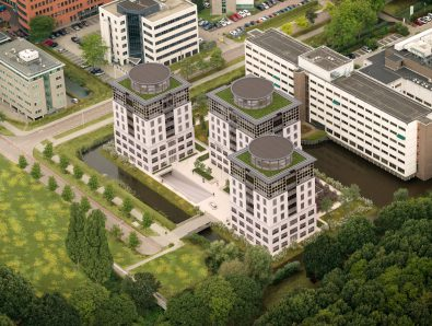 (Her-)Inrichting tuin, terrein en groene daken Trinity Buildings Amsterdam
